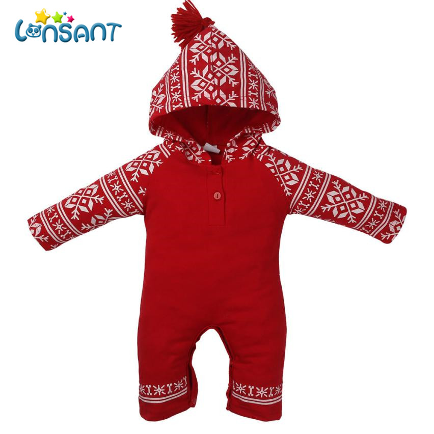 LONSANT Jumpsuit Baby Clothes Long Sleeve Print Baby Jumpsuit Winter Rompers Newborn Clothing Children Clothes Dropshipping De5