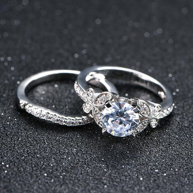 NEW 2 pcs rings set for women AAA Zircon Crystals Silver color wedding rings female anel fashion Jewelry top quality