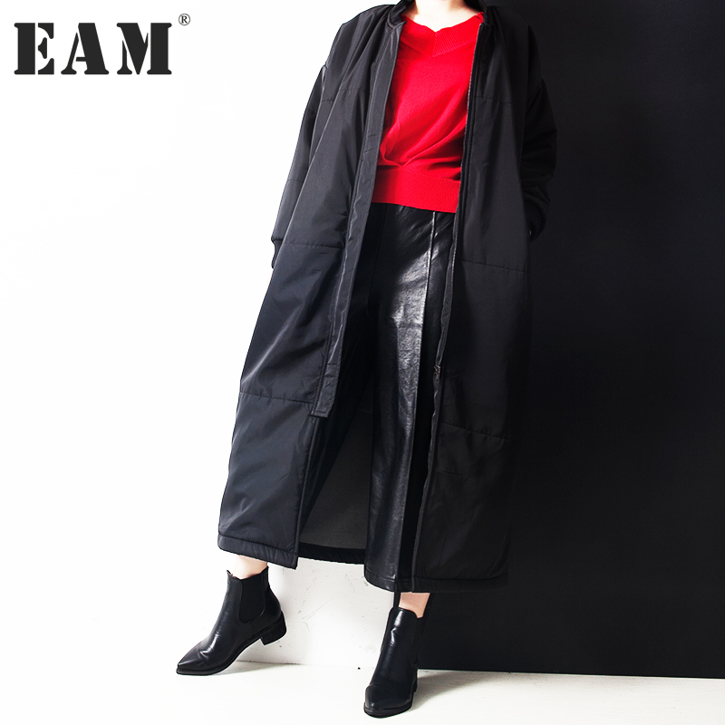 [EAM] 2017 new winter stand collar long sleeve solid color black warm loose big size long jacket women coat fashion tide JC75901 beibehang europen classic papel de parede 3d flooring damask wallpaper embossed flocking non woven modern home decor wall paper