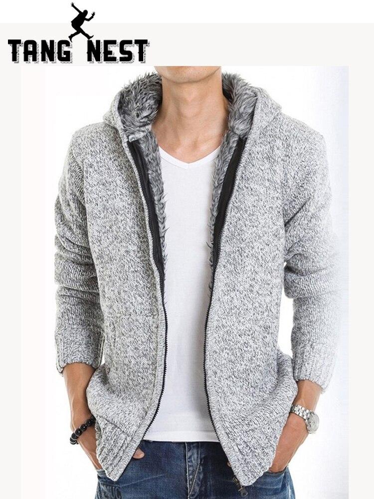 TANGNEST 2019 Piel Interior gruesa de otoño y de invierno cálido chaquetas sudaderas con capucha Hodded casuales de los hombres 5 Color grueso Venta caliente sudadera MZM179