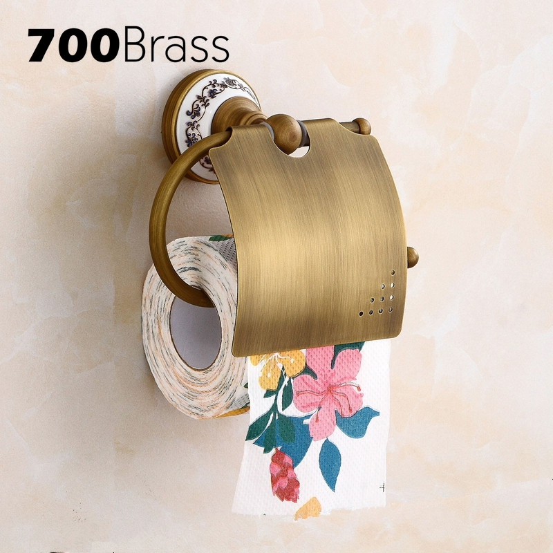 Classical Brass Toilet Paper Holder Shelf Wall Mounted WC Paper Towel Holder Ceramic Base Bathroom Roll Holder Accessories diamond ceramic base golden brass bathroom toilet paper holder wall mounted
