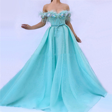 LORIE Bule A Line Evening Dress Party Gowns With Feather Prom Dresses Plunging 3D Flowers Beading Top