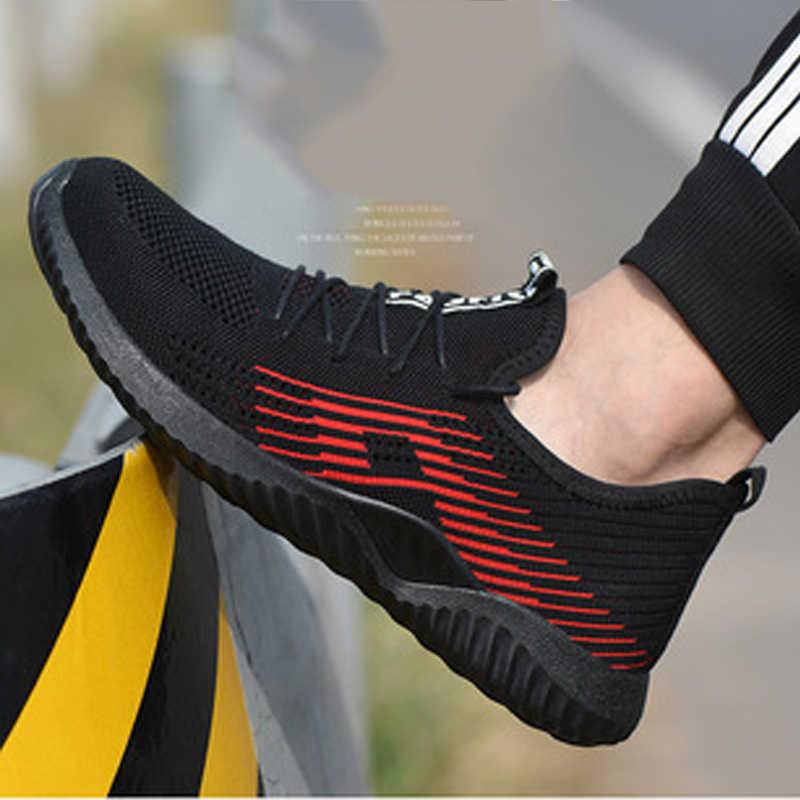 Повседневная Рабочая страховая обувь мужская прокалывающая защитная обувь Летняя дышащая дезодорант легкая Нескользящая походная обувь