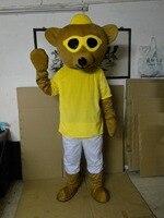New style brown gấu mascot costume adult với big kính màu vàng kaki miệng hạnh phúc mặt fancy dress