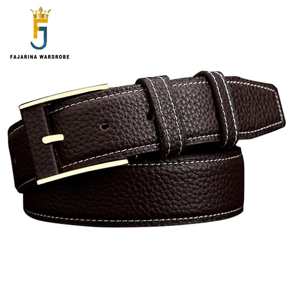 FAJARINA Brand Strap Quality Genuine Leather Pin Buckle Belts for Men Retro Style Cowhide Belt 40cm