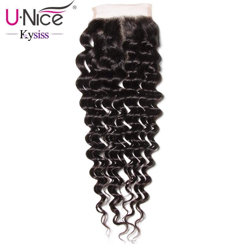 UNice Hair Kysiss Series 8A Brazilian Deep Wave Lace Closure 10 20 Inch 4x4 Swiss Lace