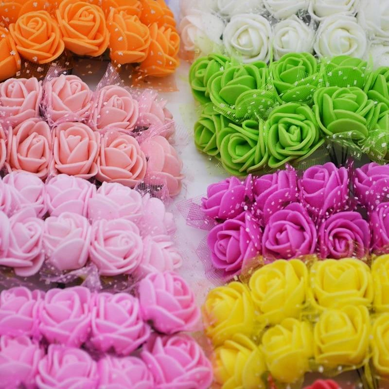 144Pcs Small Foam Rose Heads Artificial Flowers Wedding Party DIY Bouquet Decor.
