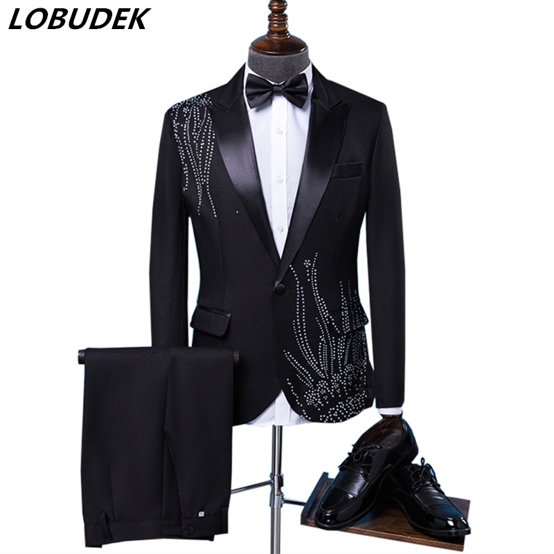 Black White Crystals Men's Suits Fashion Slim Blazers Host Adult Costume Singer Chorus Wedding Master Of Ceremonies Stage Outfit
