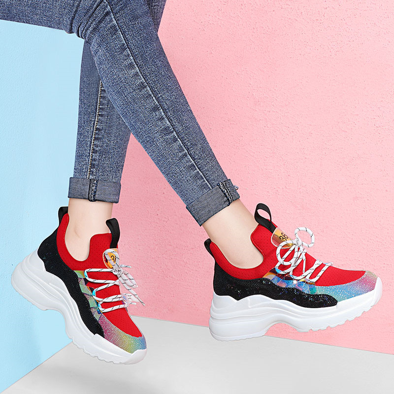 MIUBU 2019 Spring Women Flats Shoes Chunky Sneakers High Quality Lace up Basket Femme Ladies Wedges Shoes for Women creepers in Women 39 s Flats from Shoes