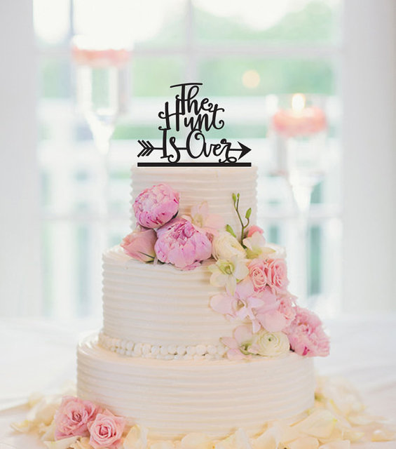 The Hunt Is Over Wedding Cake Topper Rustic Wedding Cake Topper