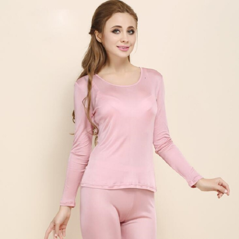 New Ladies Autumn Pure Silk Doule Knit Low Necked Thermal Underwear Set Mulberry Silk Long