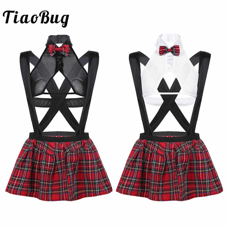 TiaoBug Women Lingerie Japanese School Girl Costume Fantasy Cosplay Party Mesh Top Mini Skirt G-string Set Sexy Porno Costumes