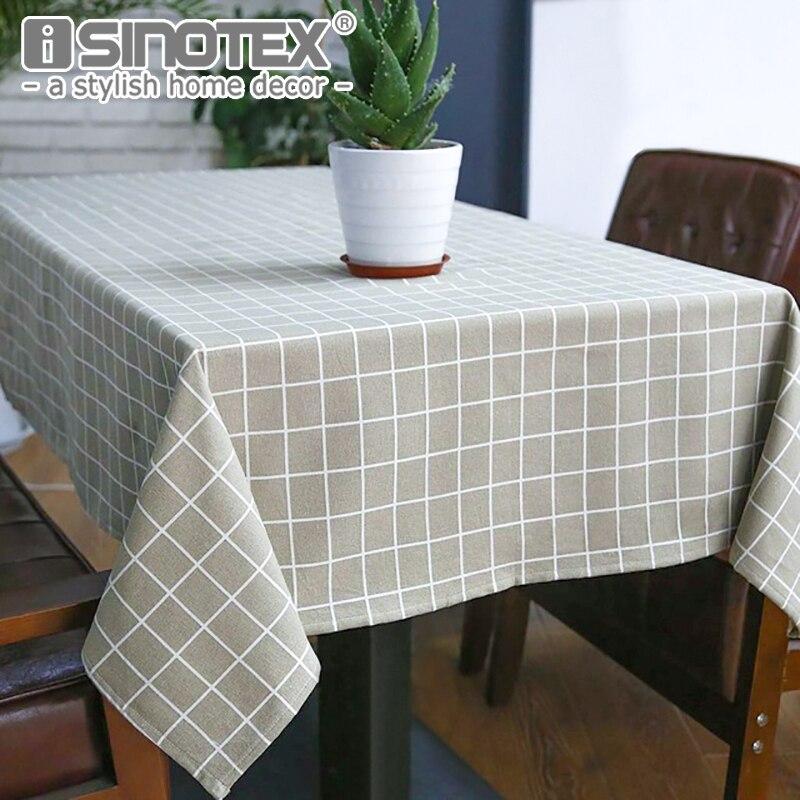 Sytlish DE MESA DE LINO tela país estilo Plaid impresión multifuncional rectángulo de la cubierta de la Mesa mantel casa cocina Decoración