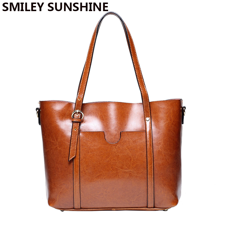 SMILEY SUNSHINE Oil wax patent genuine leather bags female vintage big tote ladies shoulder bags women leather handbags 2018 new seven skin brand women oil wax leather shoulder bags vintage designer handbags female big tote bag women s messenger bags 2017