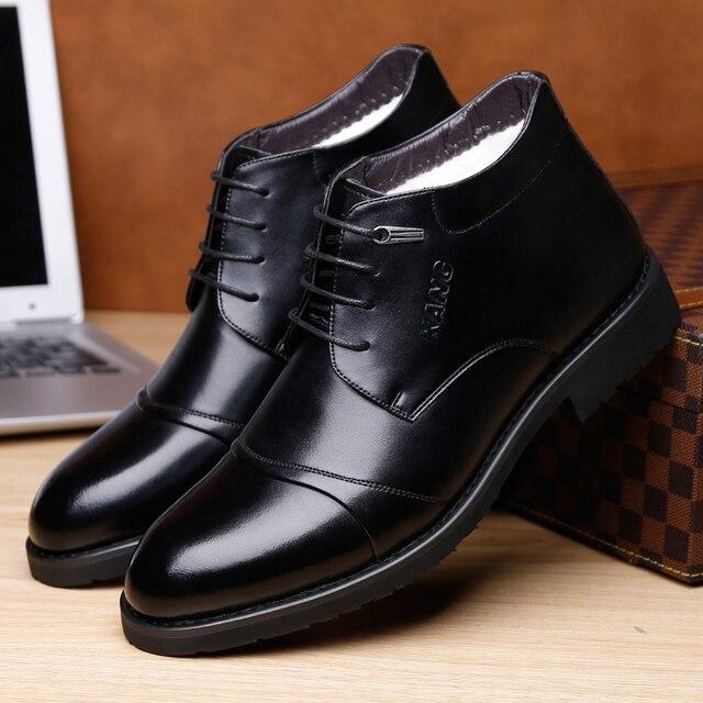 Оско новый ручной Для мужчин Зимняя обувь из натуральной кожи высокое качество зимние Мужские Ботинки Ботильоны Мужские модельные туфли Для мужчин