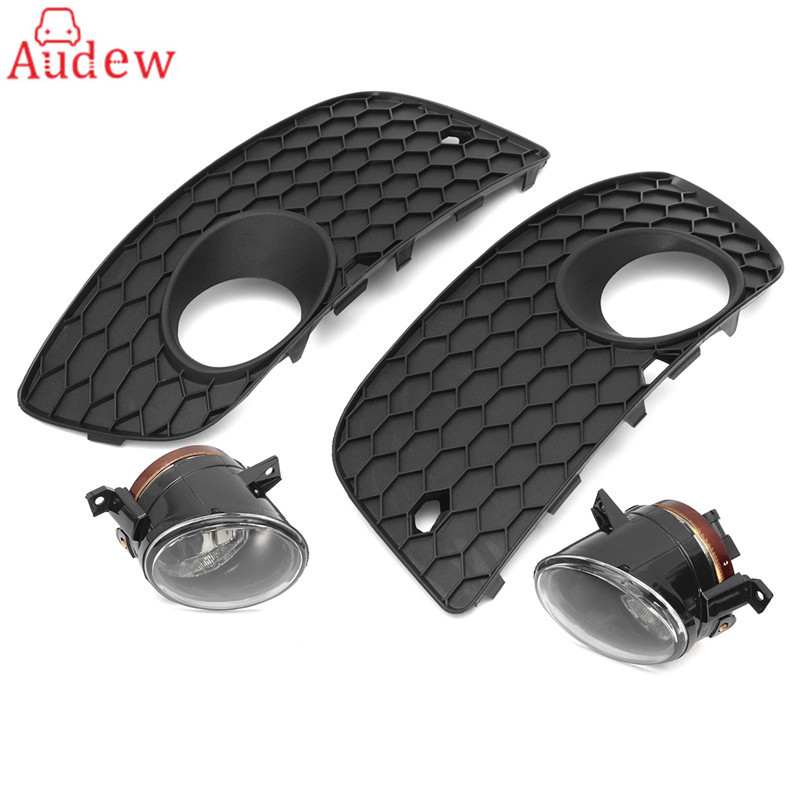 2Pcs Front Fog Light Lamp Assembly With H11 Bulb + Bumper Lower Grille Cover For VW Jetta GTI MK5 white fog light grille foglamps grill cover for vw golf rabbit mk5 2003 2009 with hardness switch h3 bulbs p98