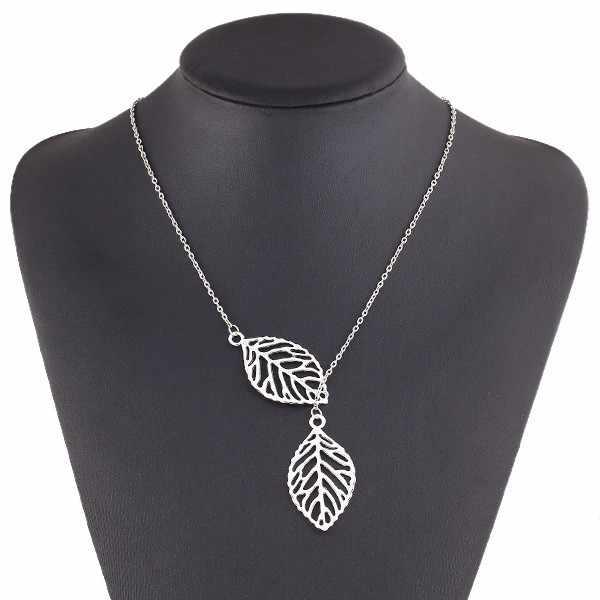 Mode européenne et américaine bijoux simple personnalité tempérament sauvage nouvelle feuille double feuille sauvage collier court femmes