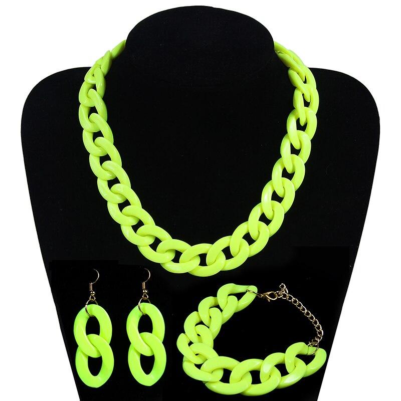 Fashion Acrylic Long Chain Necklace Bohemian Chunky Plastic Choker Collar Neckla