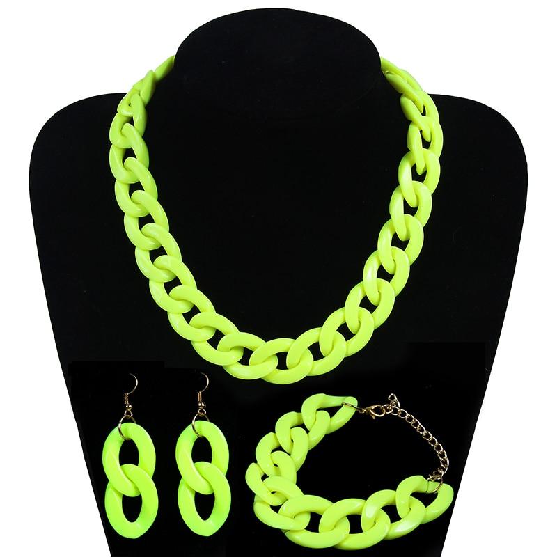 Fashion Acrylic Long Chain Necklace Bohemian Chunky Plastic Choker Collar Necklace Pendant For Women Bijoux Fashion Accessories