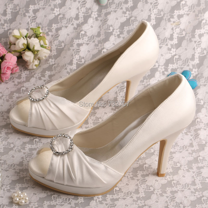 ФОТО Wedopus MW585 Female Wedding Shoes On the Platform Shoes Wedding Off White High Heel