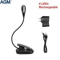 4 Leds USB Rechargeable Book Light Clip On Flexible Bright Reading Table Lamp Portable Kitap Ebook