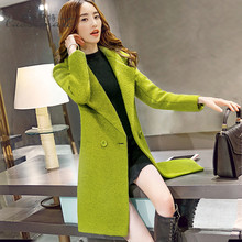 Ms Spring and Autumn In the long section Thicker Self-cultivation Large size Thicker Woolen jacket