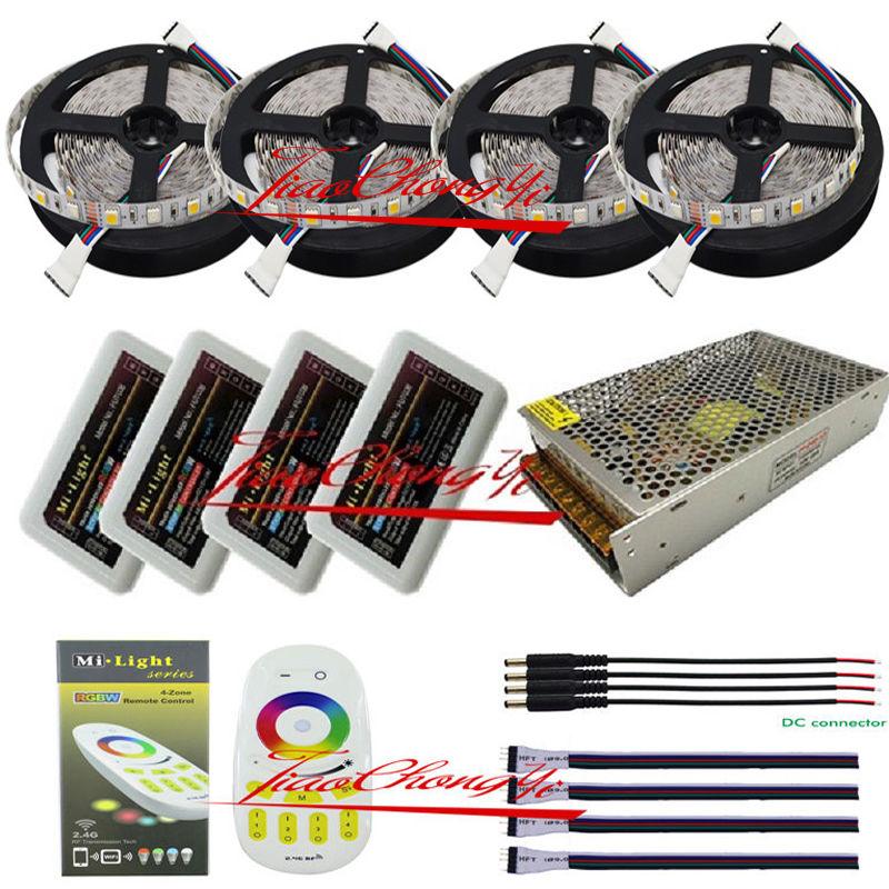 5 m à 20 m 5050 300led RGBW RVB + blanc led light strip + télécommande + Puissance