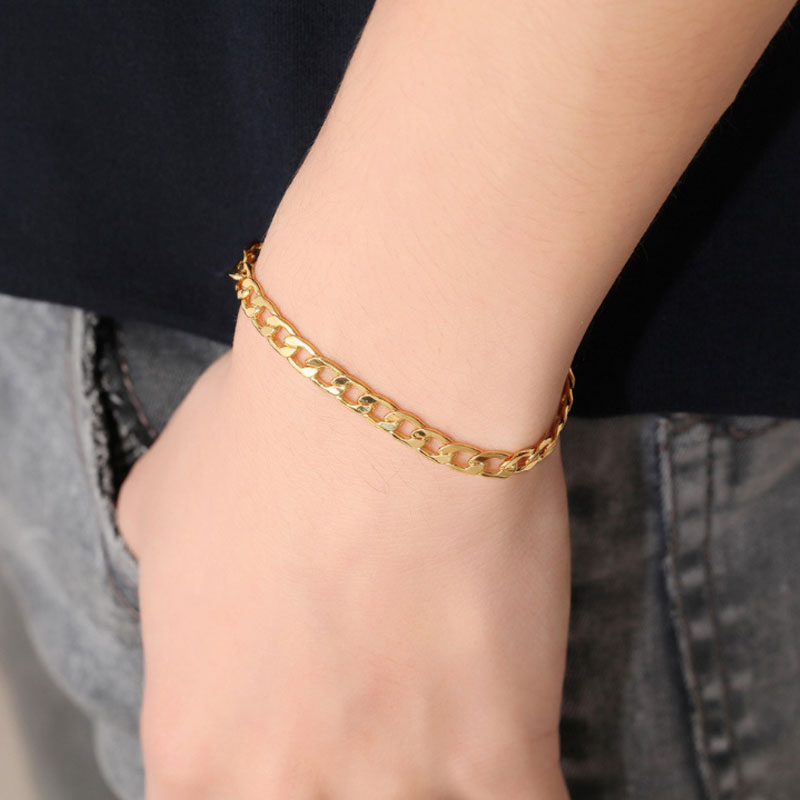 Fashion Bangle Link Wristband 6mm 10mm Stainless Steel Bracelet Men Punk Golden Silver Bangle Women Girls