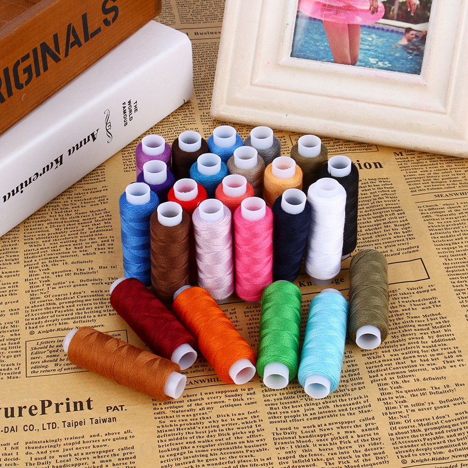 Wholesale 24 Rolls/Lot Assorted Spool Polyester Sewing Machine Finest Cotton Thread Cord String Reels Set free shipping 95 97 id 108672 108962 size eur 40 46