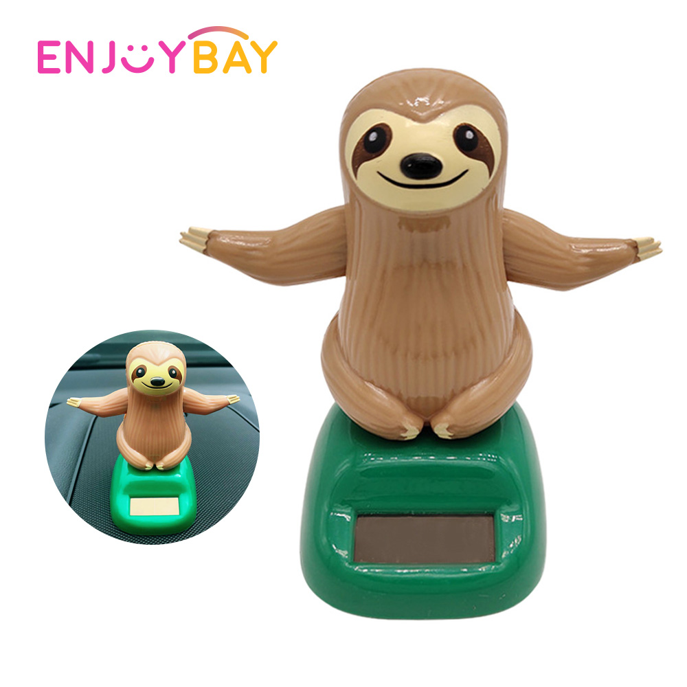 Enjoybay 1/2pc Solar Powered Dancing Sloth Toy Car Decoration Novelty Solar Toy Cute Anti-stress Toy Funny Decoration Kids Gifts
