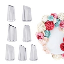 7pc tainless steel Cream Nozzles Stainless Steel Icing Piping Tips Rose Tulip Flower Pastry nozzle baking tools for cakes