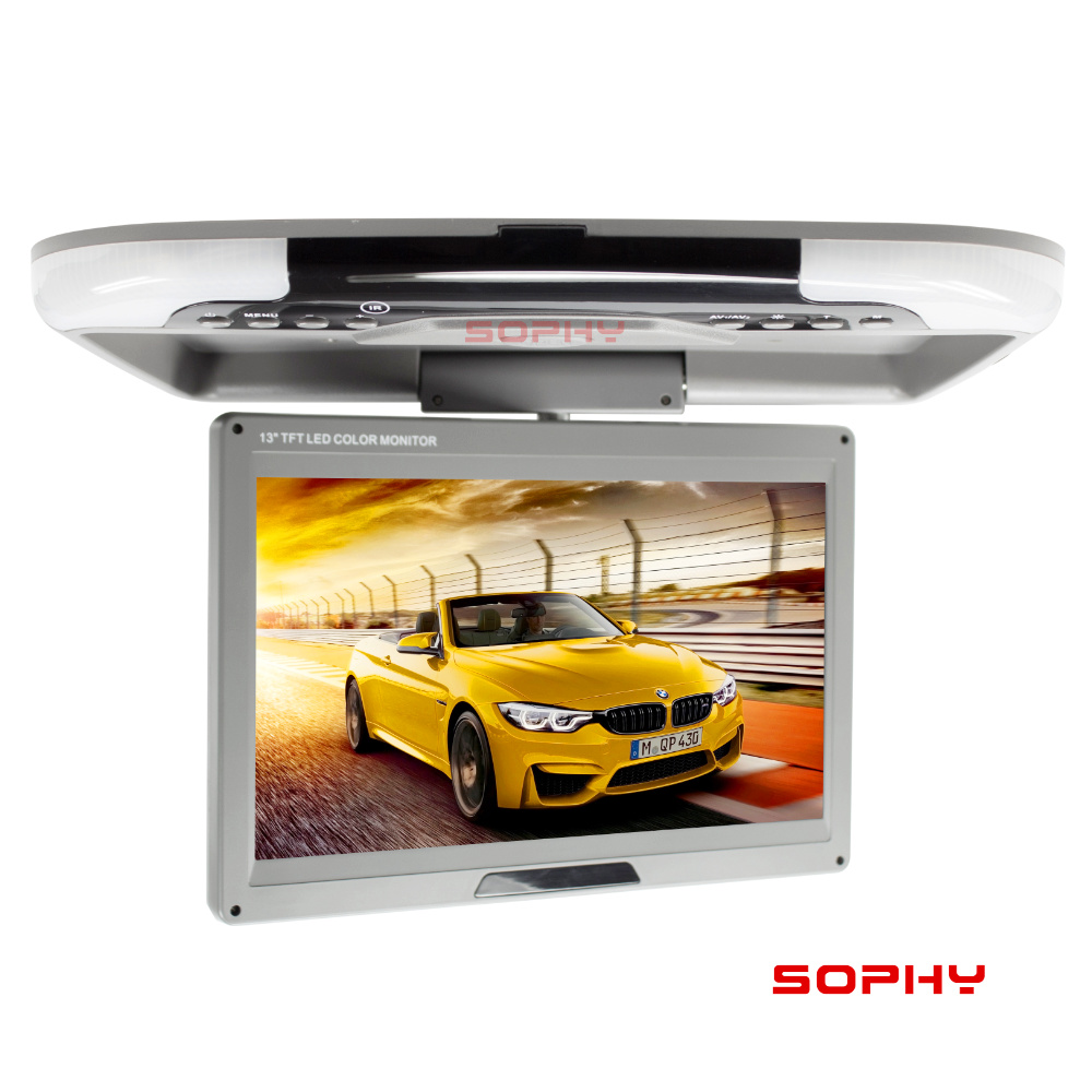 Image 3 - 13 inches DC12V LED Digital Screen Car Roof Mounted Monitor Car Ceiling Monitor Flip Down Monitor Overhead for Car or Bus 1308 2-in Car Monitors from Automobiles & Motorcycles