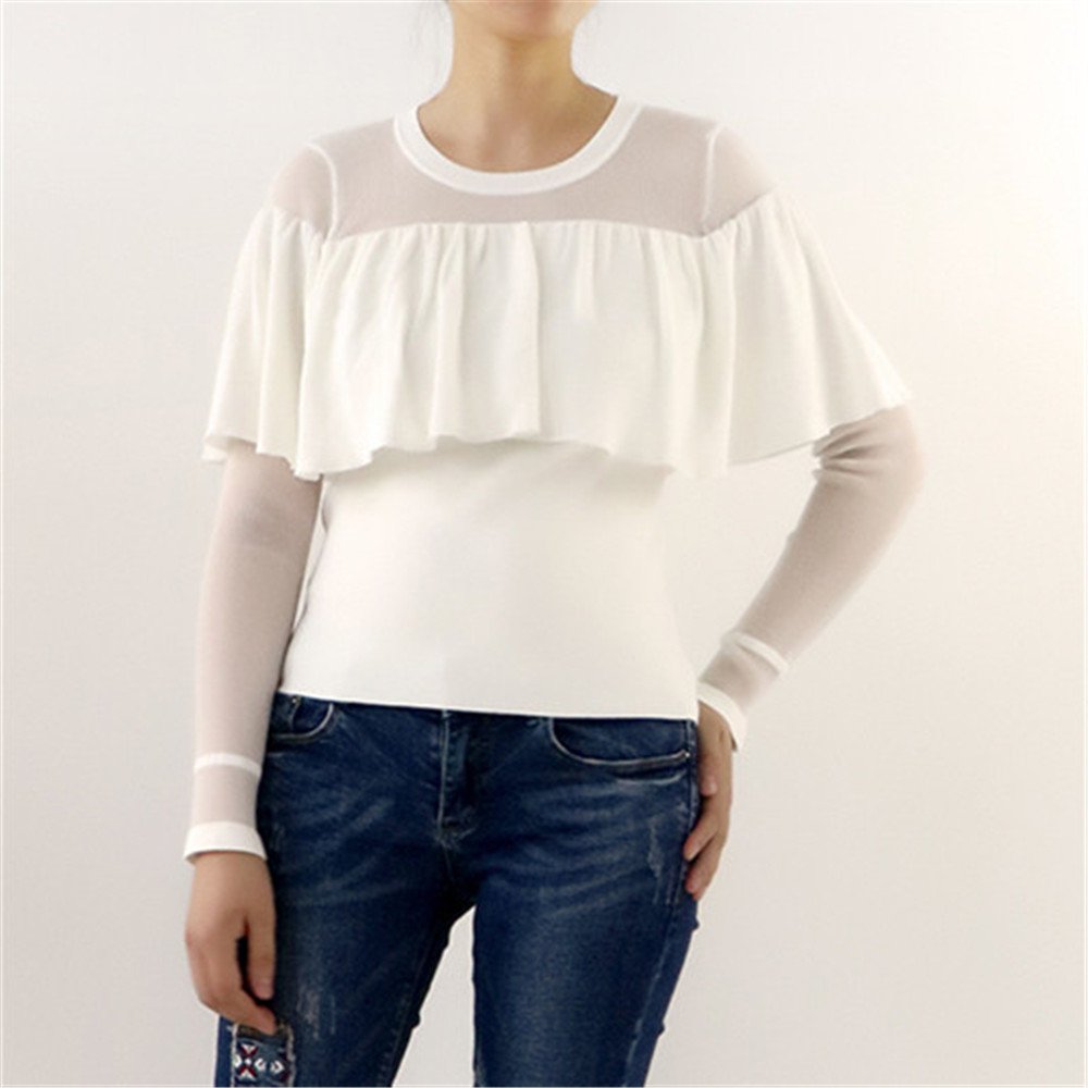 Sexy See-Through Blouses Sweater Women 2018 New Spring Ruffles Splice Sweater Runway Jumper Pullover Knit Top Design Thin Jersey