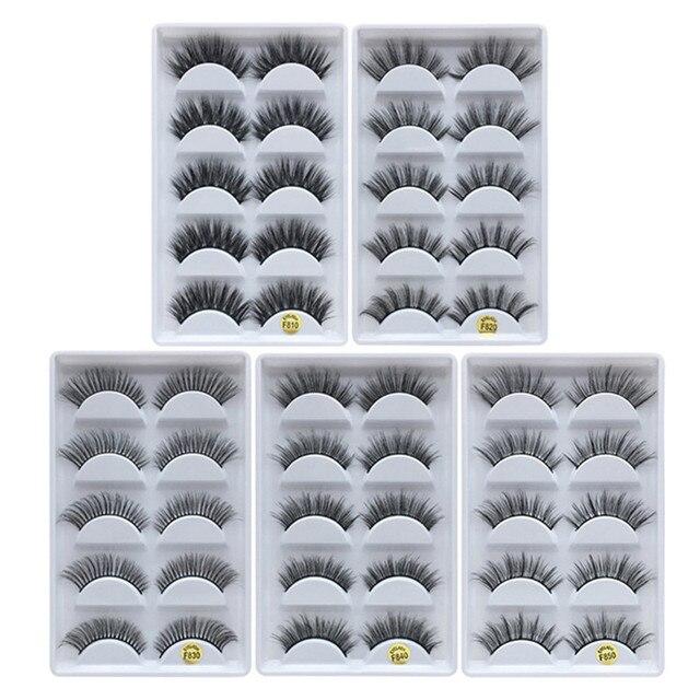 MB 5 pairs Mink Eyelashes 3D False lashes Thick Crisscross Makeup Eyelash Extension Natural Volume Soft Fake Eye Lashes