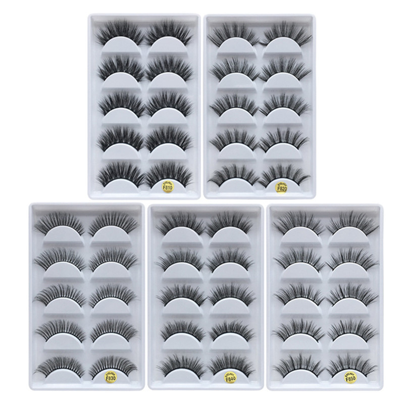 MB 5 pairs Mink Eyelashes 3D False lashes Thick Crisscross Makeup Eyelash Extens
