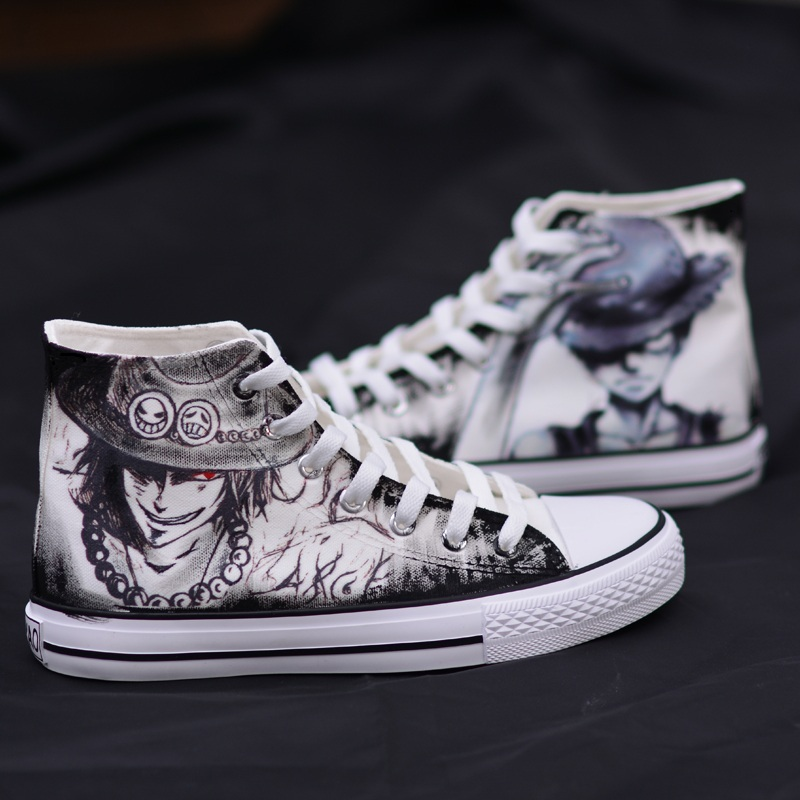 High-Q Unisex Anime Cosplay One Piece Canvas Shoes Monkey D Luffy Roronoa Zoro Portgas D Ace Plimsolls Shoes Rope Soled Shoes