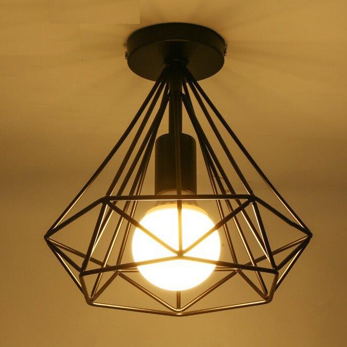 Moderne zwarte diamant ijzeren kooi plafond lichtpunt thuis deco - Binnenverlichting