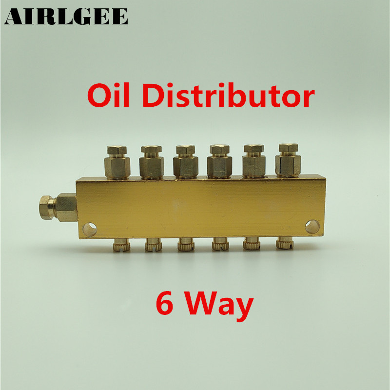 Air Pneumatic Brass 6 Way Adjustable Oil Distributor Regulating Manifold gold tone air pneumatic adjustable 9 way oil distributor valve manifold block