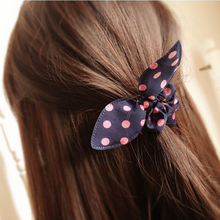 Mix wholesale hot arrival! Girl rabbit ear hair band fashion wild temperament lovely woman dot fabric rope free shipping