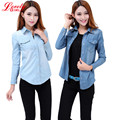 New 2017 Spring Woman Denim Shirts Fashion Style Long Sleeve Casual Shirt Women 2 Colors Blouses Plus Size Blusa Jeans Feminina