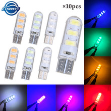 10pcs Car LED T10 w5w led bulb 194 w5w Canbus 6SMD 5730 t10 Silicone LED Light No Error Parking License Plate lamp car styling(China)