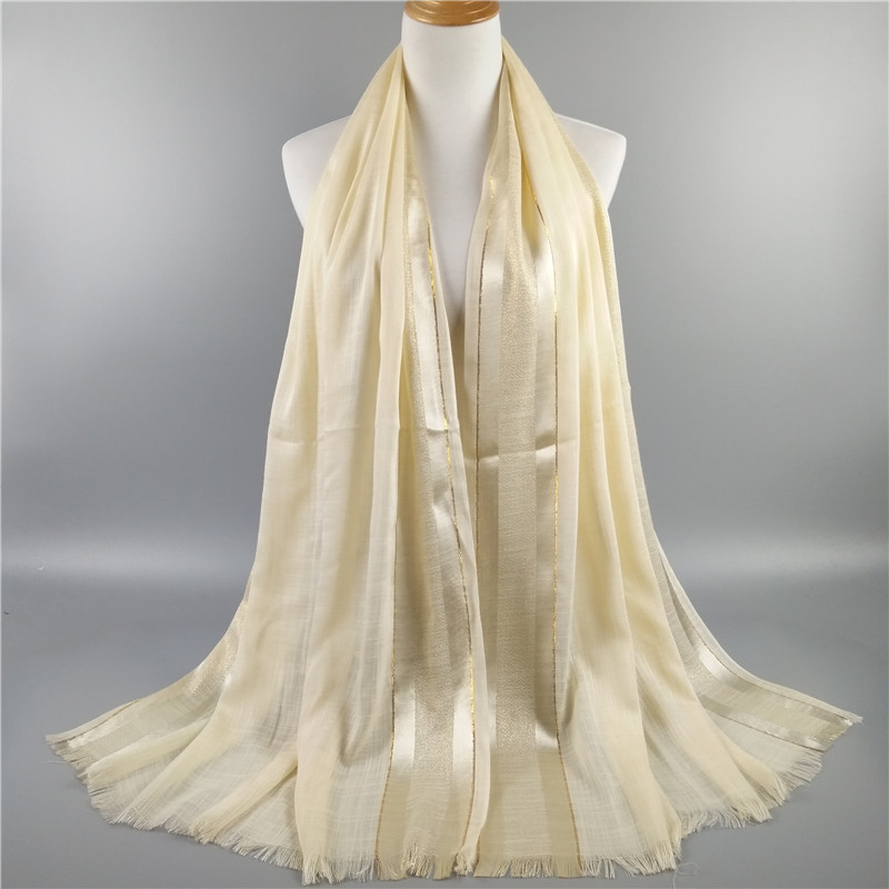 High fashion frayed trims cotton gold lurex glittering necherchief autumn new muffler islam women shawl muslim
