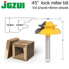 1 шт. небольшой замок Miter маршрутизатор бит анти-откатка 45 градусов 1/2 дюйм; запас 1/4 дюйма хвостовик Tenon резак для WoodworkingTools-RCT15291