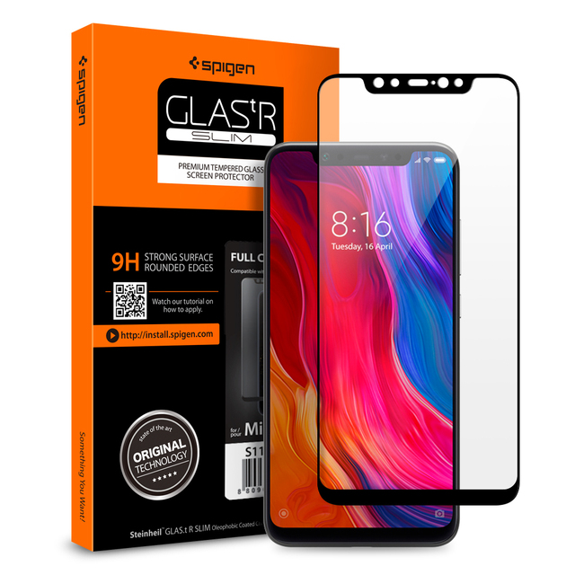 premium selection 6687a b8e16 US $16.99 |100% Original Spigen Xiaomi Mi 8 Screen Protector Glas.tR Slim  Full Coverage Tempered Glass Black S11GL24508-in Phone Screen Protectors ...