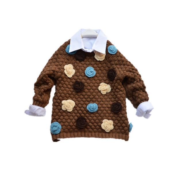 Meninas Inverno Sweater Cardigan Crianças floral apliques moda malha casual crianças hotsale camisola morna frete grátis