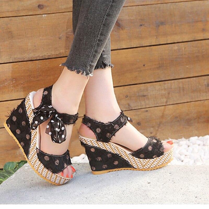 HTB19cogXUGF3KVjSZFvq6z nXXap Women Sandals Dot Bowknot Design Platform Wedge Female Casual High Increas Shoes Ladies Fashion Ankle Strap Open Toe Sandals