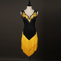 Latin Dance Dresses Women's Performance Spandex Organza Crystals/Rhinestones Tassel Sleeveless Dress