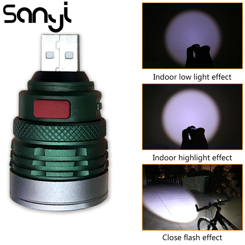USB Charging Interface Handy Pocket Flashlight Portable Mini Zoomable 3 Modes Torch Lamp Lanterna For Riding Camping Night Walk