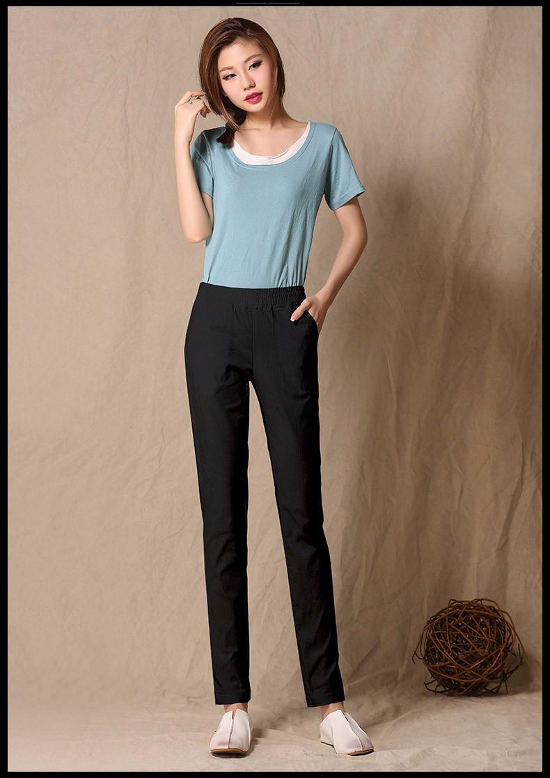 Women Ankle Length linen pants casual pencil pants sport pants Slim solid spring summer autumn trousers for women plus size A375 g