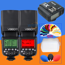 2x Godox V860II-N V860IIN GN60 i-TTL HSS 1/8000s Speedlite Flash w/ Li-ion Battery+X1T-N Transmitter for Nikon+Gift Kit